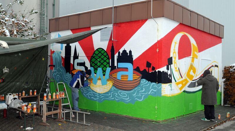 stadtwerke versch nern eigentum mit graffitis augsburg b4b schwaben. Black Bedroom Furniture Sets. Home Design Ideas