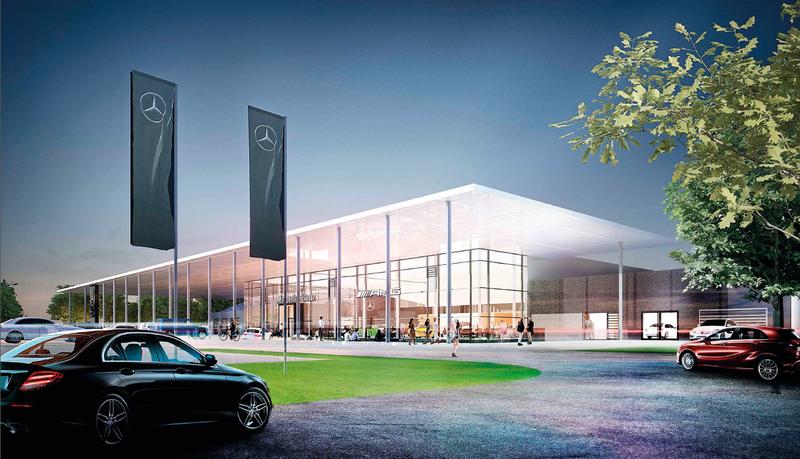 bayerns modernstes mercedes autohaus steht bald in augsburg augsburg b4b schwaben. Black Bedroom Furniture Sets. Home Design Ideas